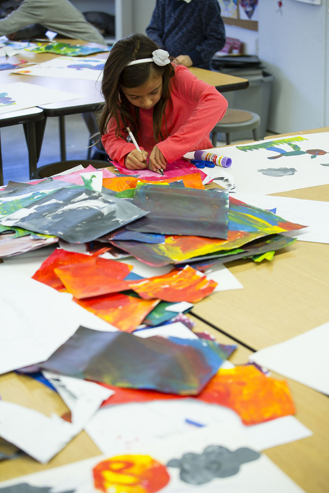 Integrated arts classes are parts of the program at all grade levels.