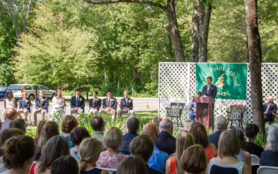 Commencement in the Mimi Borden Garden at Pine Point.
